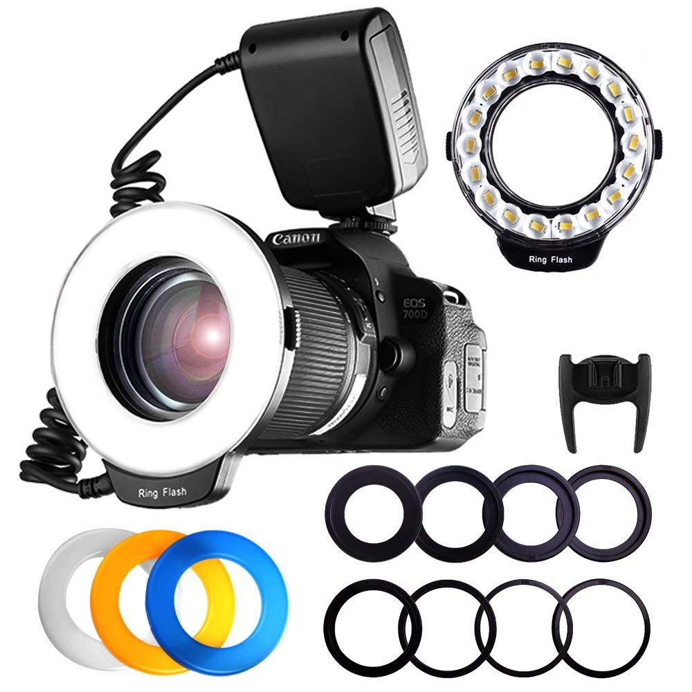 FOSITAN 18 LED Macro Ring Flash Light for Nikon Canon Camera DSLR with LCD Display Power Control 8 Adapter Rings 4 Light Diffuser for Nikon Canon and Others Hot Shoes DSLR Camera by FOSITAN