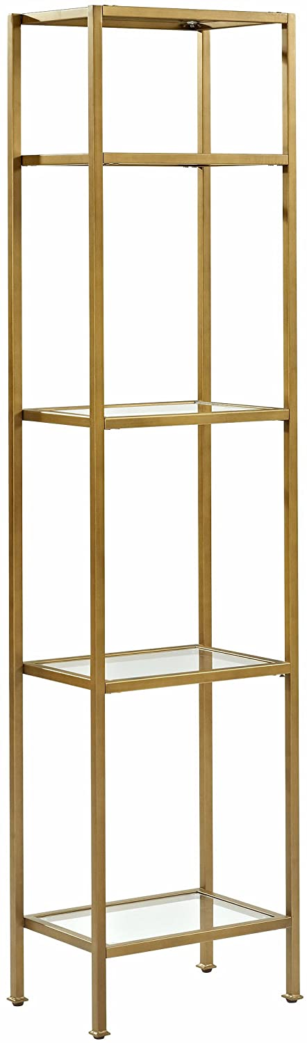 Crosley Furniture Aimee Narrow Etagere Bookcase - Gold and Glass