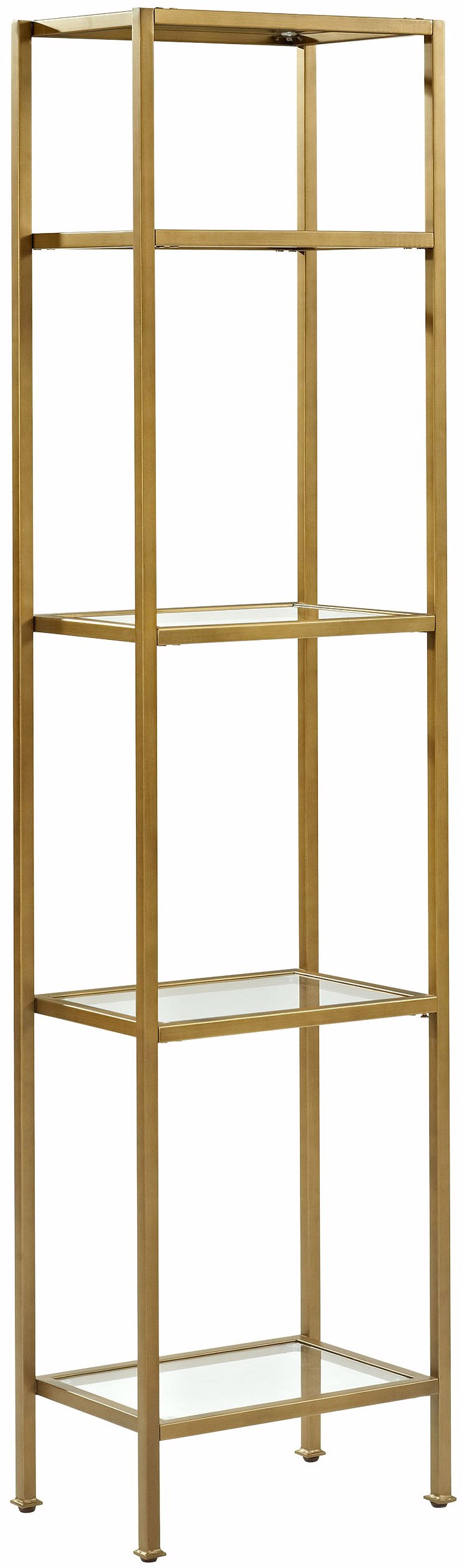 Crosley Furniture CF6114-GL Aimee Narrow Etagere Bookcase - Gold and Glass