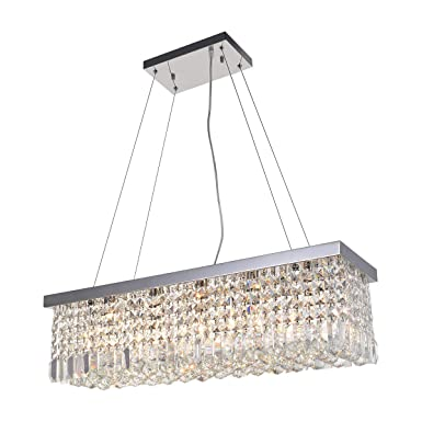 ANJIADENGSHI Modern Crystal Rectangular Chandelier Stainless Steel 5 E12 Bulbs with Adjustable Hanging Light Fixture for Dining Living Room Foyer Office Chandelier, Chrome