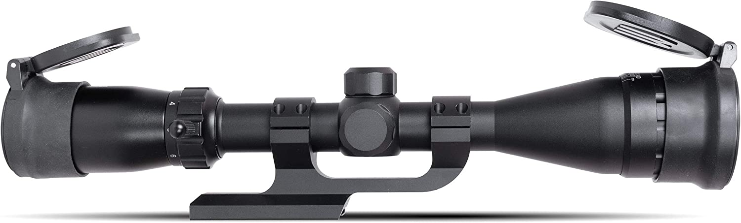 Monstrum 3-9x40 AO Rifle Scope with Parallax Adjustment and Offset Scope Mount | Monstrum Flip Up Lens Cover Set | Bundle