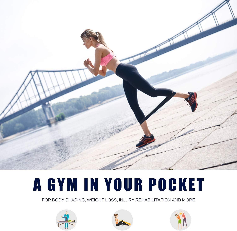 Fasce Elastiche Yoga per Pilates Squat Fitness Palestra Formazione Lixada 6PCS Banda Elastica per Esercizi Unisex Latice Non Facilmente Deformabile