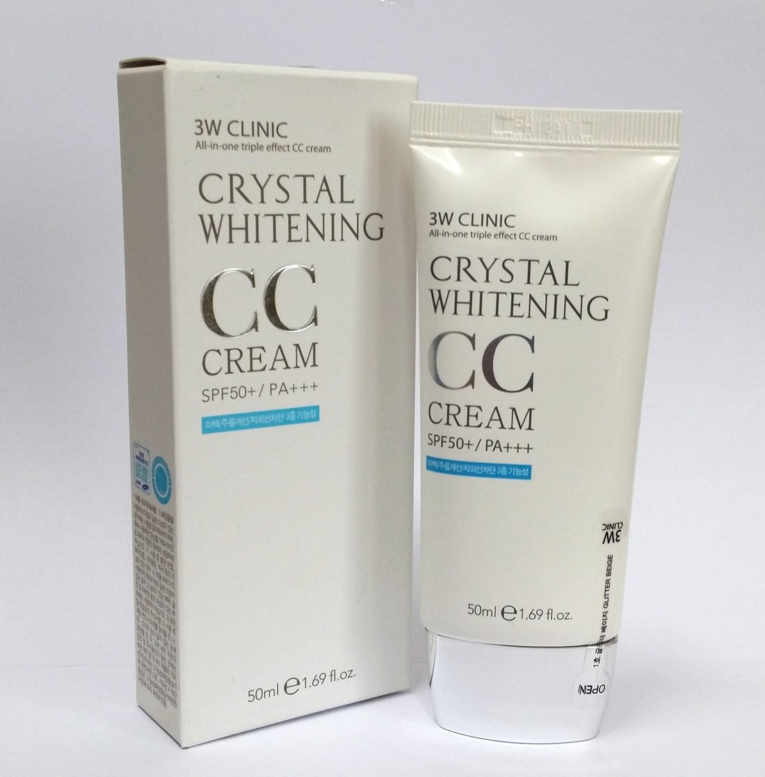 [3W CLINIC] Crystal Whitening CC Cream 50ml SPF50 PA+++/#02 Natural Beige/Korean Cosmetics