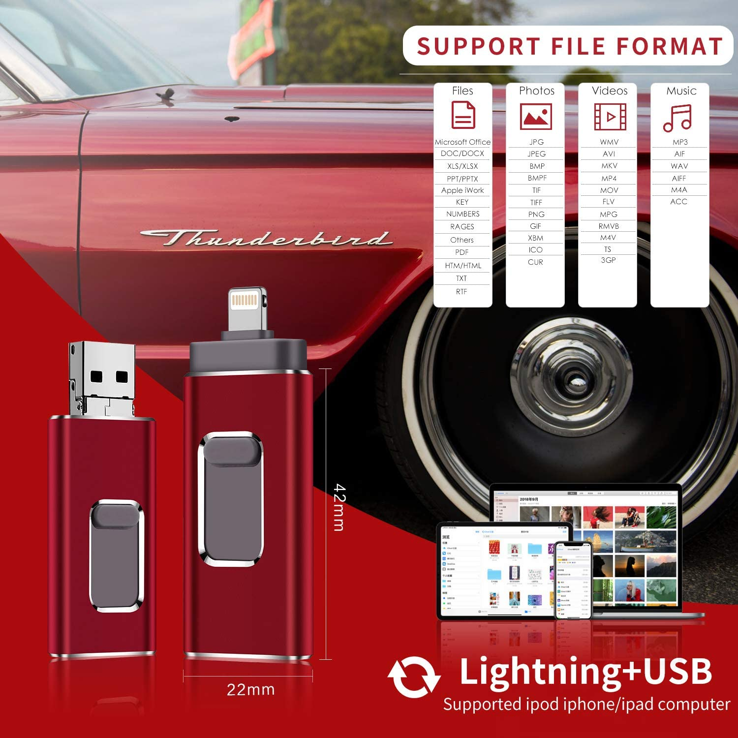 red-128GB USB Flash Drive for iPhone 128gb Memory Stick LTY Photo Stick USB 3.0 Jump Drive Thumb Drives Externa Lightning Memory Stick for iPhone iPad Android and Computers