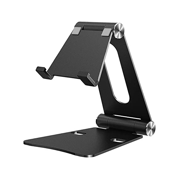 "iKsee Cell Phone Stand, Adjustable Phone Stand, Dual Foldable Cell Phone Holder, Cradle, Dock for 4-10"" Android Smartphone iPhone X 8 7 6 6s Plus 5 5s 5c iPad Mini, Desk Accessories-Black"