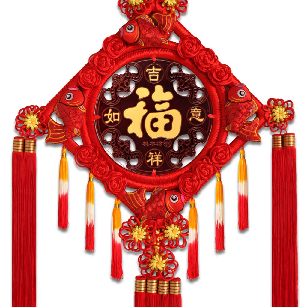 CFJKN Feng Shui Chinese Knot, Chinese New Year Decoration Fu Spring Festival Home Decor Traditional Ornamental Knot Tassel Red Handcraft Knitted Hanging Collectible,red_125x58cm