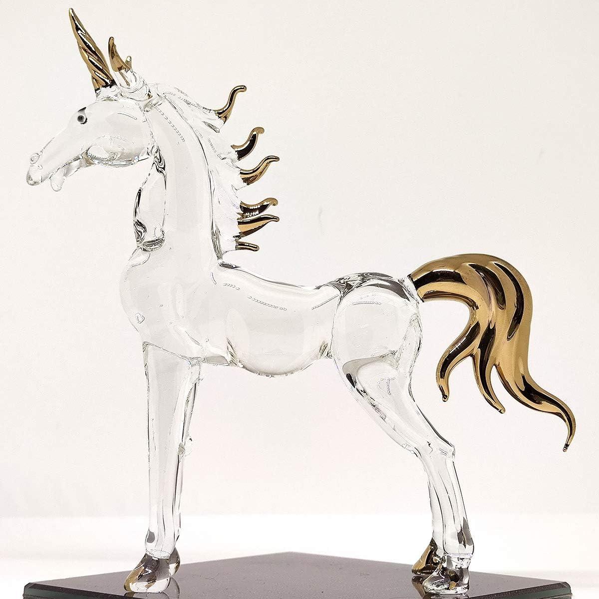 Sansukjai 6 Inches Unicorn Miniature Figurines Hand Blown Glass Art W' 22k Gold Trim Animals Collectible Gift Home Decor, Clear Gold