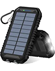 ADDTOP Solar Charger 15000mAh, Portable Power Bank with Dual USB Ports Waterproof External Battery for iPhone X / 8/7, Samsung Galaxy and More