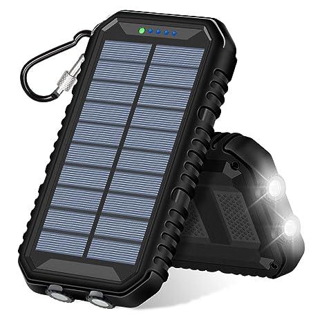 ADDTOP Cargador Solar 15000mAh Portátil Batería Externa con 2 USB Puertos Impermeable Power Bank para iPhone