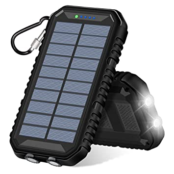 ADDTOP Cargador Solar 15000mAh Portátil Batería Externa con 2 USB Puertos Impermeable Power Bank para iPhone, iPad, Samsung Galaxy y más