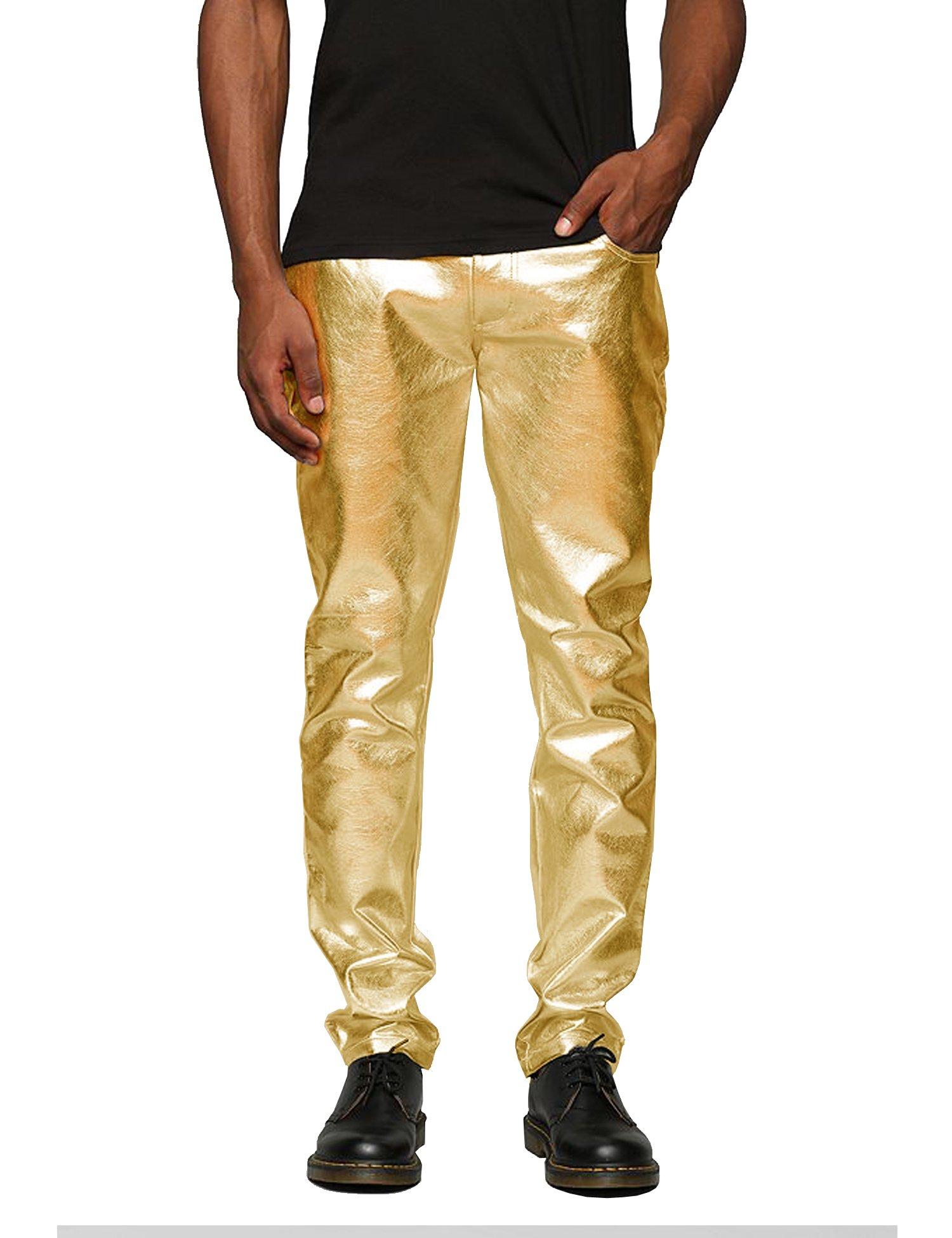 Simbama Mens Zipper Design Moto Jeans Style Metallic Gold Pants Straight Leg Trousers