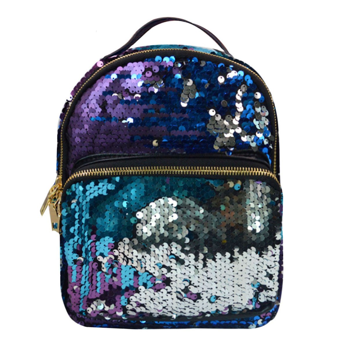 A  bluee Danse Jupe Sequins Faux Leather Backpack Fashion Daypack Casual School Bag Travel Satchel(bluee)