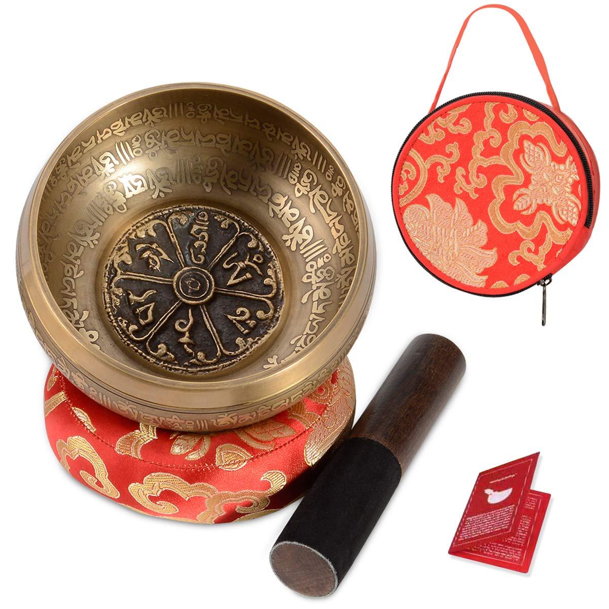 SHANSHUI Singing Bowl, 5 inch Meditation Tibetan Set, Nepal Antique Mantra Carving Hand Hammered, Sound For Yoga Chakras Healing Meditation -Red by SHANSHUI