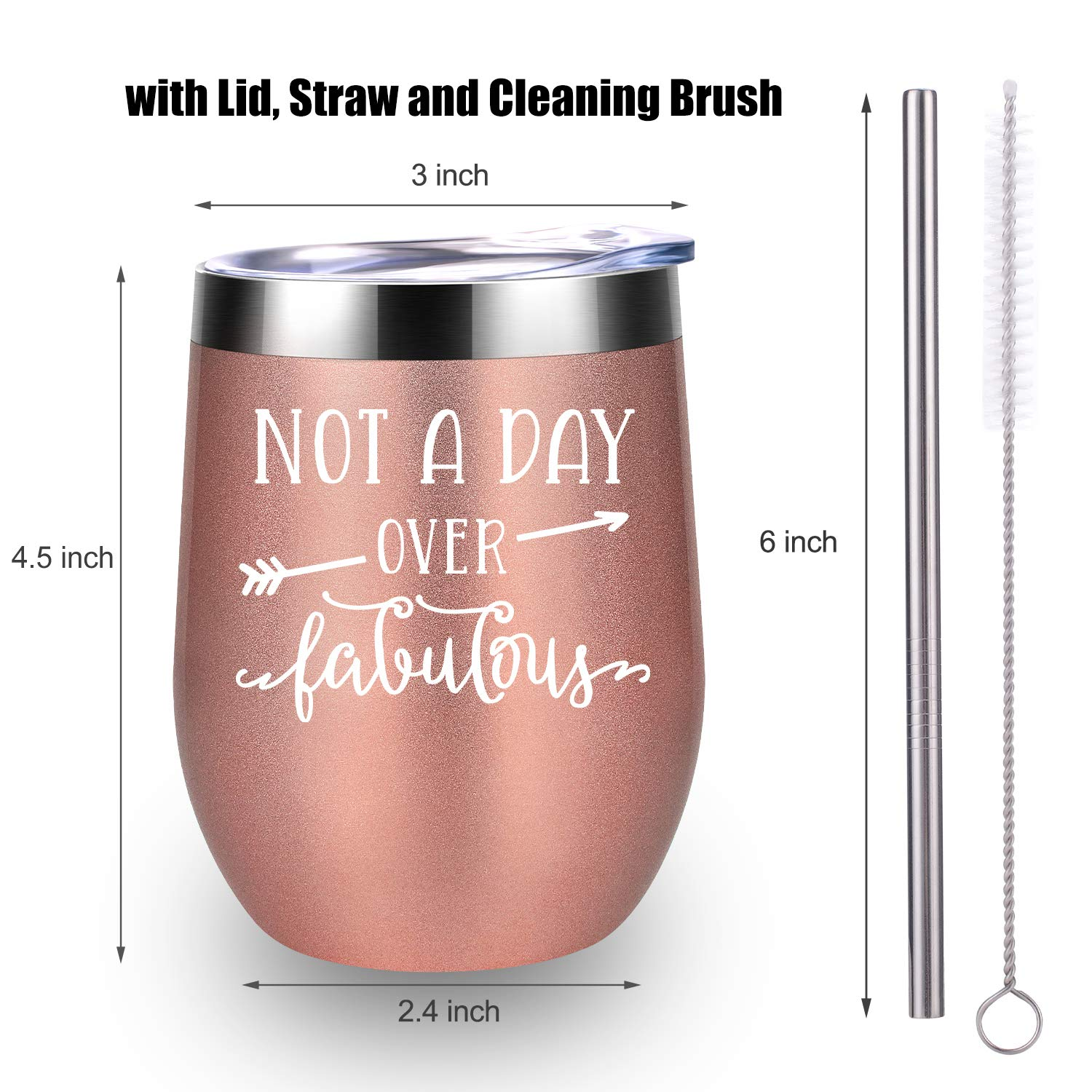 Not A Day Over Fabulous - LEADO Stainless Steel Insulated Wine Tumbler with Lid - Funny Novelty Birthday Mothers Day Retirement Gifts Ideas for Her Women - 30th 40th 50th 60th 70th Party Decorations by LEADO (Image #4)