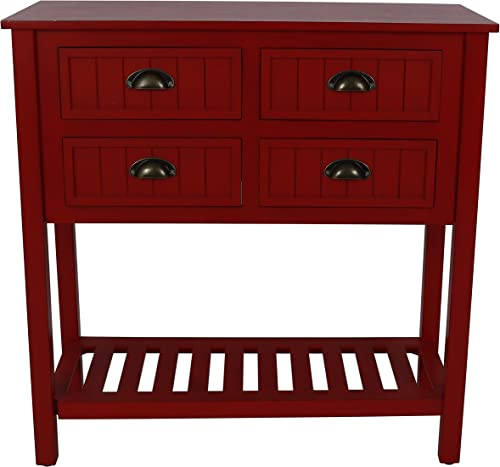 Decor Therapy Bailey Bead board 4-Drawer Console Table, 14x32x32, Antique Red