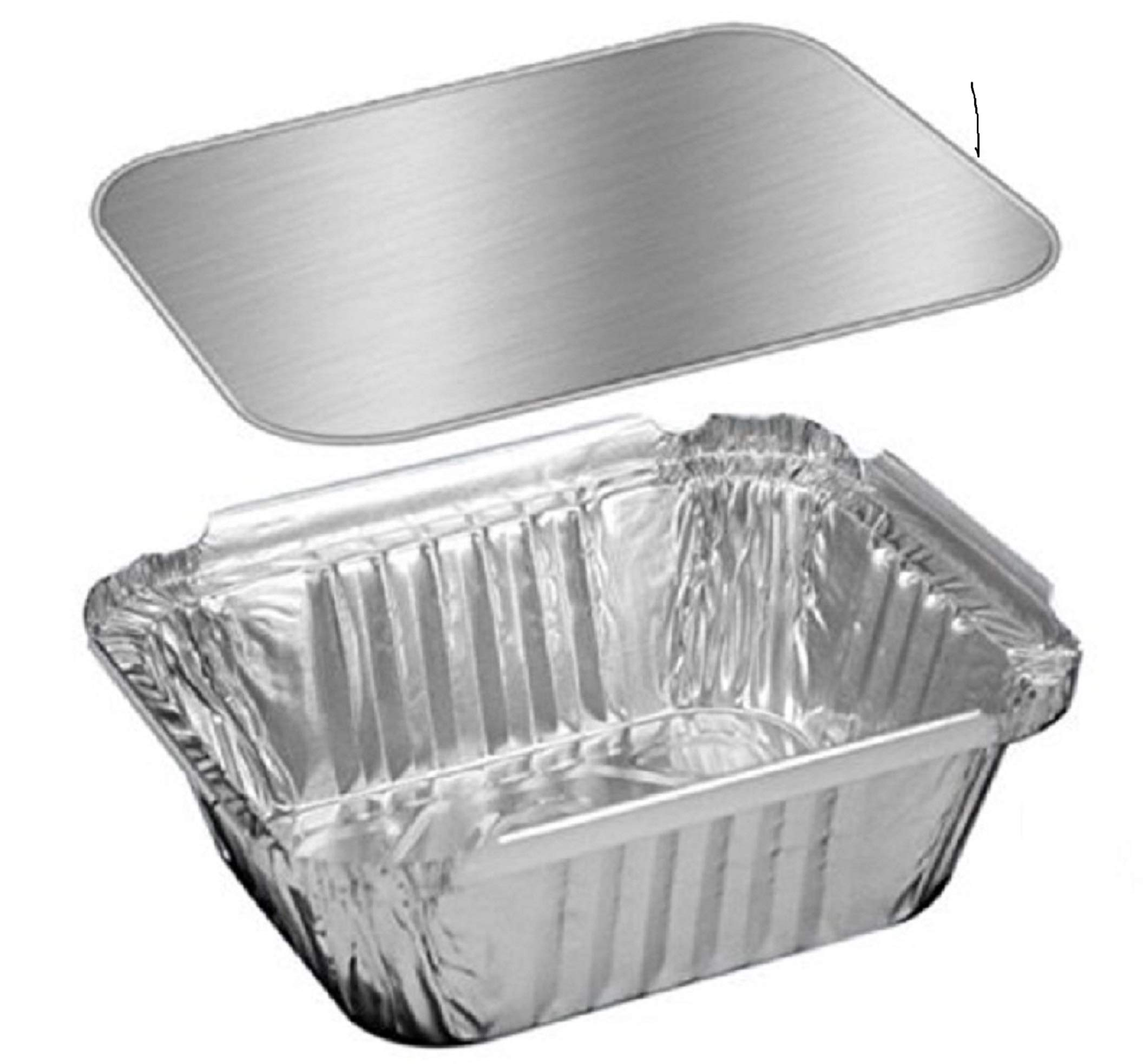 The Baker Celebrations Aluminum Foil Mini 1 lb Loaf Pan with Board Lid - 5 x 4 inch Disposable Takeout Food Containers - Made in USA (Pack of 50)