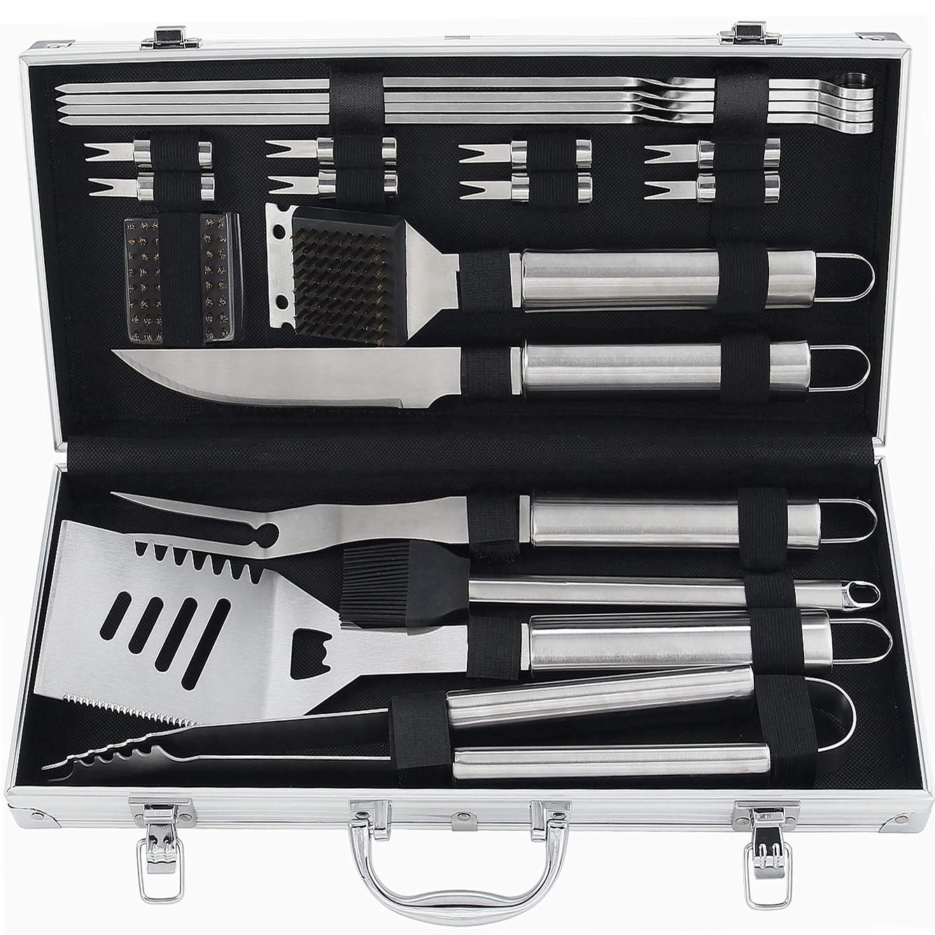 POLIGO 20pcs Barbecue Grill Utensils Kit Stainless Steel BBQ Grill Tools Set - Premium Camping Grill Accessories in Aluminum Case for Men - Ideal Outdoor Grilling Gifts Set for Birthday Christmas by POLIGO