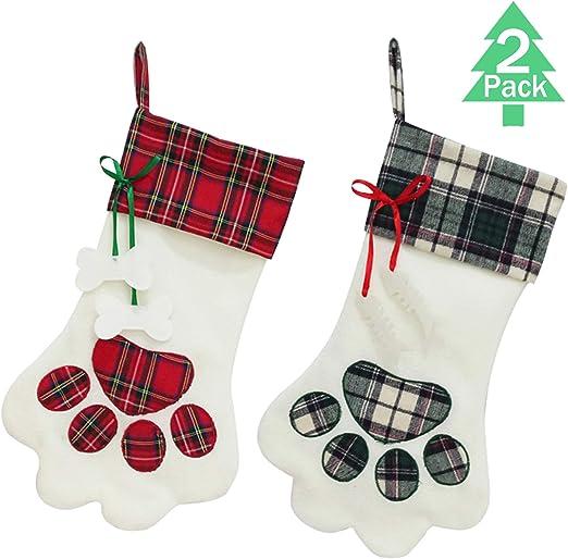 AerWo Pet Dog Christmas Stocking Hanging Christmas Stocking with Large Paw for Christmas Decorations 18 x 11 Inches
