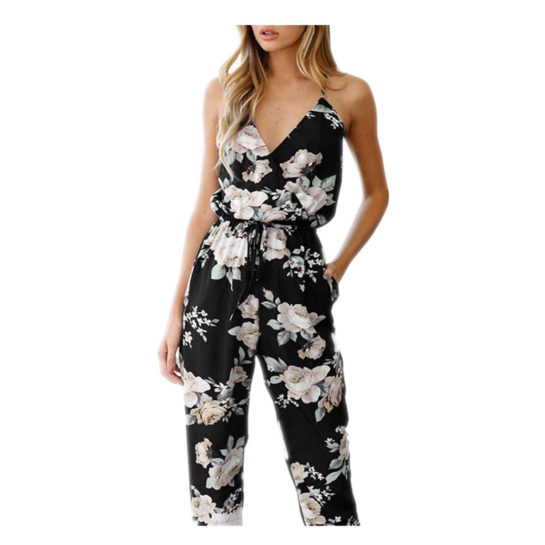 Jumpsuits, Oyedens Jumpsuits da Donna V Collo Elegante Floreale Tuta Pantaloni Tutine Oyedens 0708