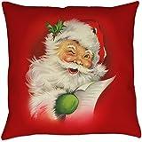 Vintage Christmas Santa Claus Square Pillowcase Cushion Cover Case 18 x 18 inches