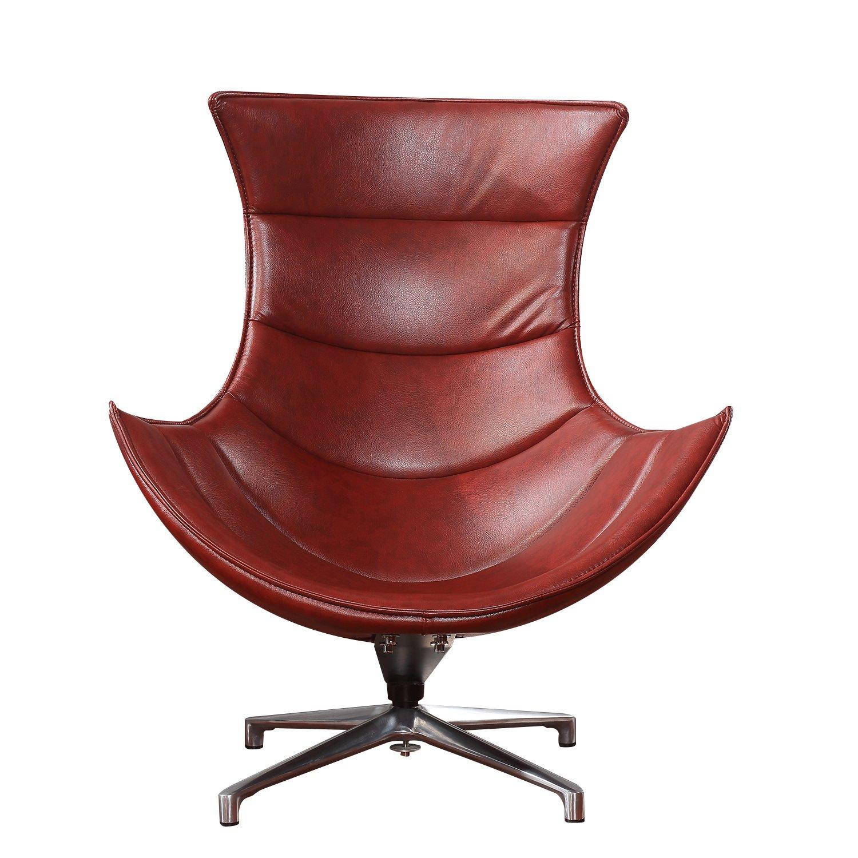 "Amazon Hom 39"" PU Leather Swivel Cocoon Chair Brown"