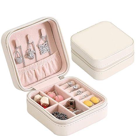 YasLa Roele Caja de joyería Caja del Anillos Collares de Viaje múltiples Funciones Encantos Hermosos portátiles