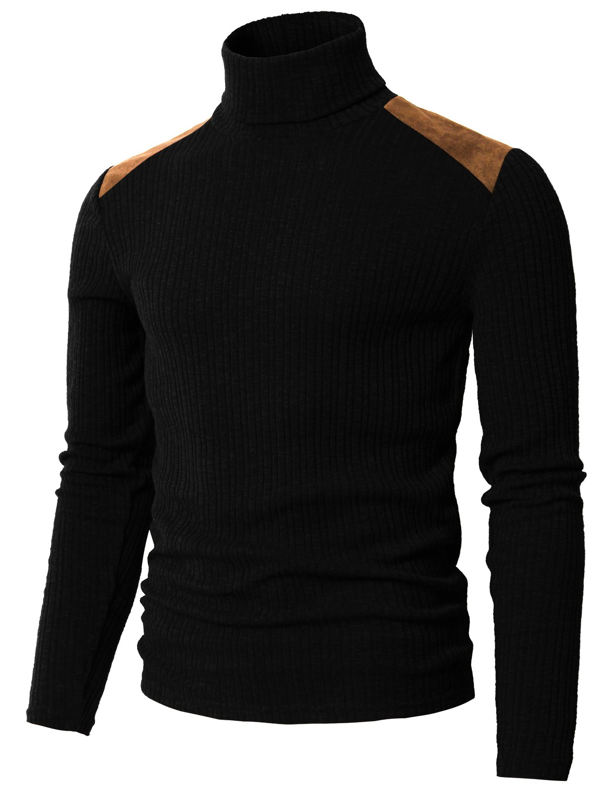 H2H Mens Slim Fit Modal Supersoft Long Sleeve Turtle Neck Top Pull Over Sweater Black US M/Asia L (CMTTL099) by H2H