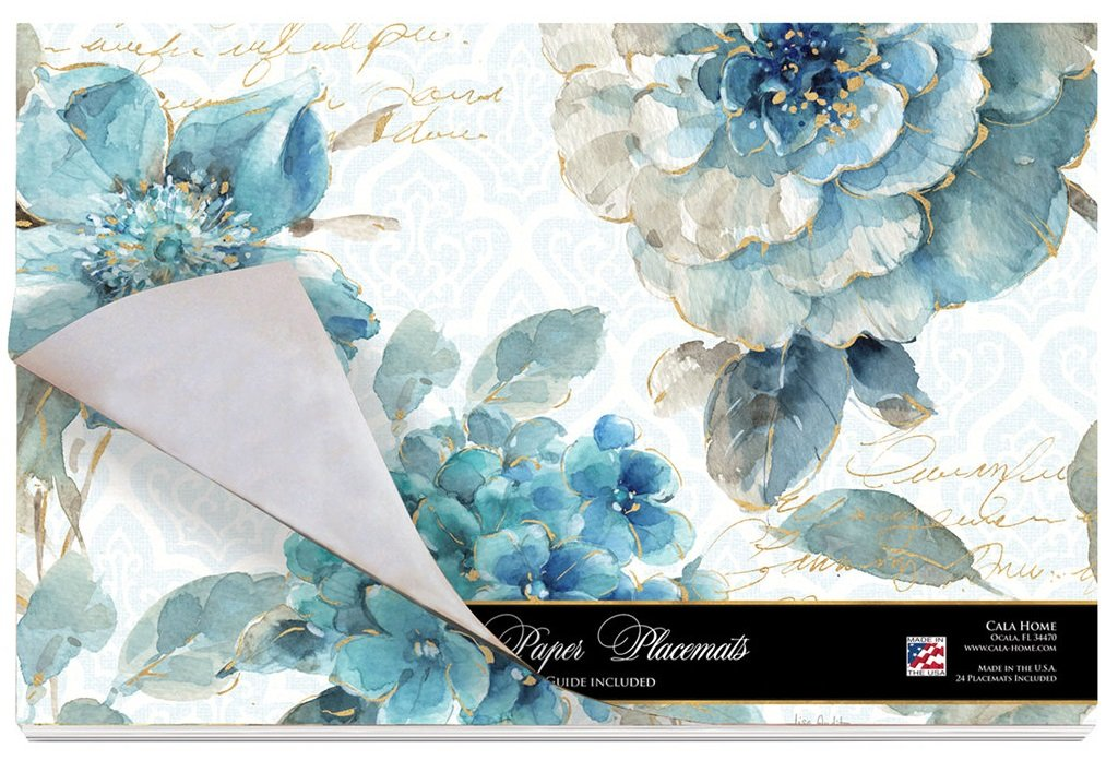 Cala Home 24-Pack Disposable Paper Placemats, Indigold
