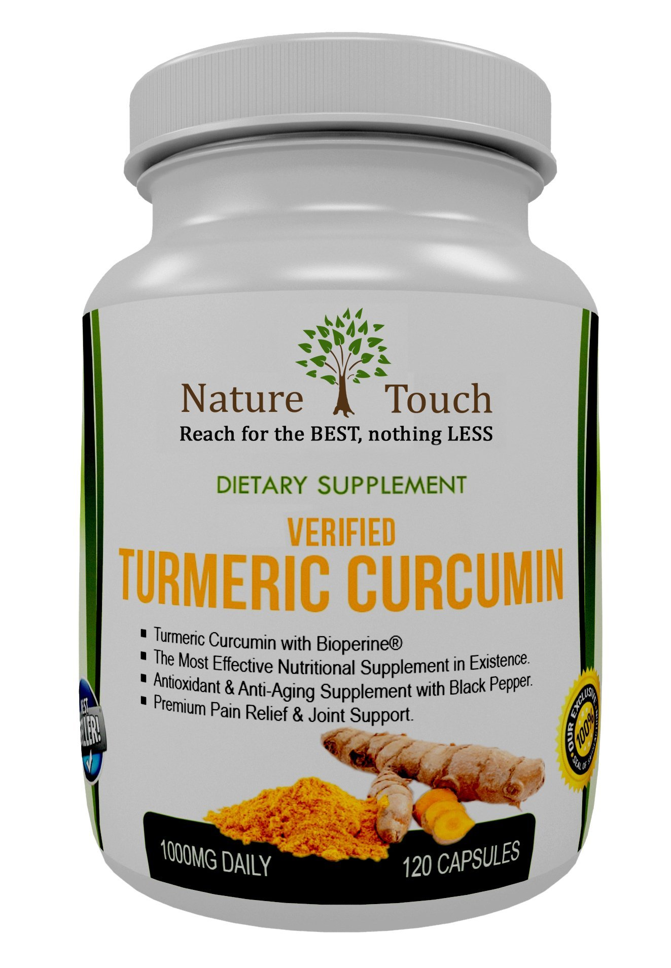 Research Verified Turmeric Curcumin Capsules- Curcuma Capsules- Best for Pain Relief With Bioperine. Tumeric Powder Extract Supplement 1000 Mg With Black Pepper (Piperine). Tumeric Supplements
