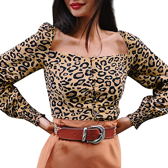 fb86502e616f41 diandianshop Women Tops T-Shirt Long Sleeve Square Collar Botton Leopard  Print Shirt Blouse Tops  Amazon.in  Clothing   Accessories