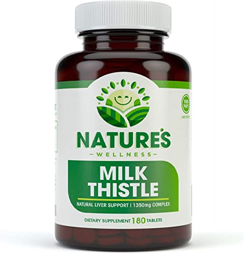 Milk Thistle – 180 Count – Standardized Silymarin Extract for Maximum Liver Support – Detox, Cleanse Maintain Your Liver 1350 mg Extract Seed Complex – Natural Herbal Supplement – 60 Servings