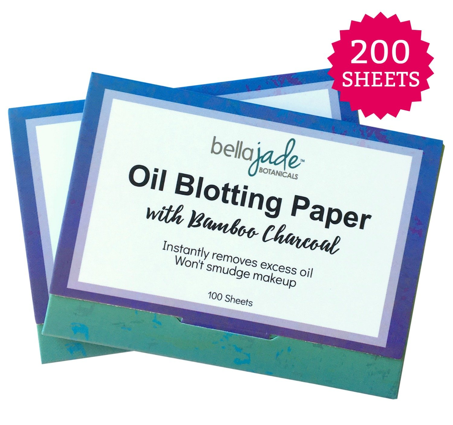 Oil Blotting Paper Sheets - Instantly Absorbs Excess Oil and Shine from Face without Smudging Makeup - Large size, 200 Tissues ... (charcoal) by Bella Jade