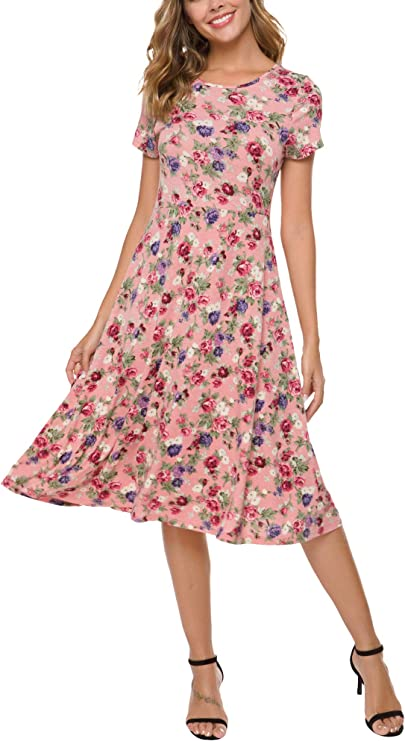 Pretty Valentine Dresses for Women, Floral Dress Short Sleeve, Cute Flared Midi Dress, Valentine Dress for date night