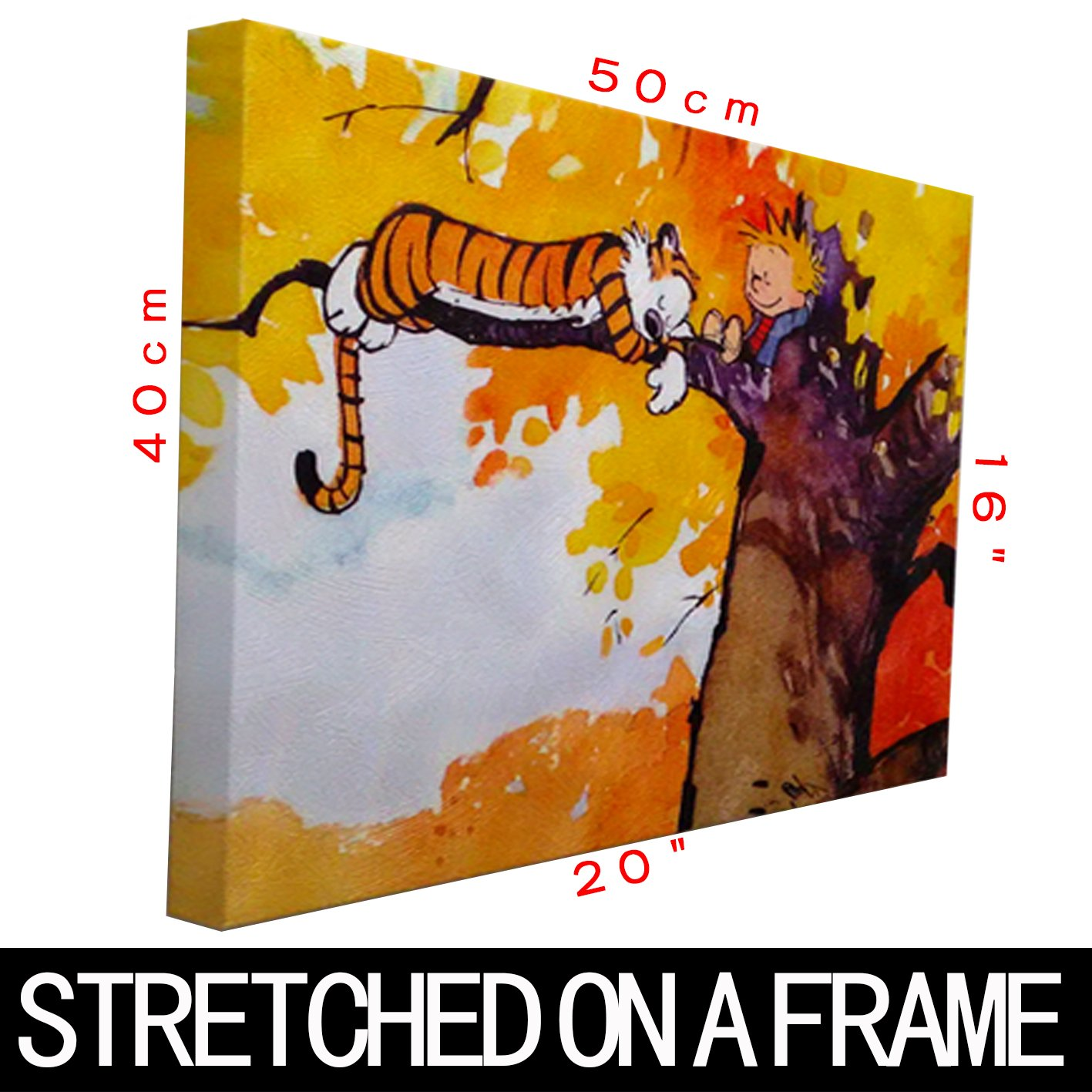 amazon com h5h2976 calvin and hobbes on the tree 20x16 canvas amazon com h5h2976 calvin and hobbes on the tree 20x16 canvas framed reprint prints posters prints