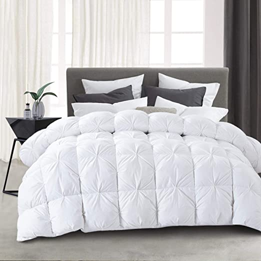 HOMBYS All-Season Goose Down Comforter King Size Duvet Insert Feather Hypo-allergenic White Pinch Pleat 100% Cotton Cover Down Proof with Corner Tabs Premium Baffle Box Design--King Down Comforter