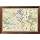 Amazon world map vintage style 36x24 wood framed poster art framed world map modern day as antique on canvas 24x36 gumiabroncs Image collections