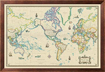 framed world map modern day as antique on canvas 24x36