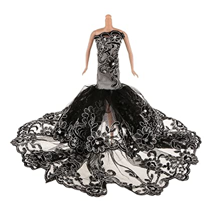 7c5c5088ded Buy Generic Embroidery Floral Black Lace Evening Party Mermaid Gown Dress  Clothing Outfit For 1 6 Sindy Barbie Dolls Online at Low Prices in India -  Amazon. ...
