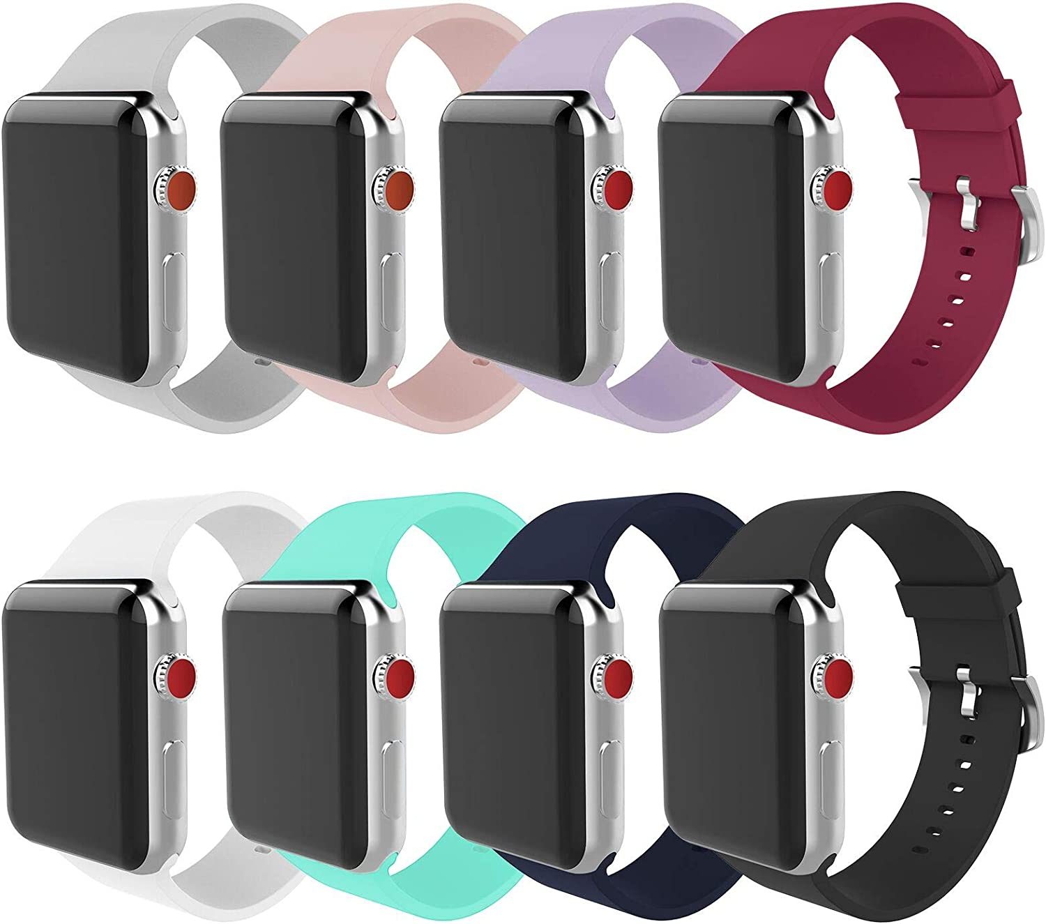 BMBEAR Compatible Apple Watch Band 42mm 44mm Soft Silicone Replacement iWatch Band for Apple Watch Series 6 Series 5 Series 4 Series 3 Series 2 Series 1