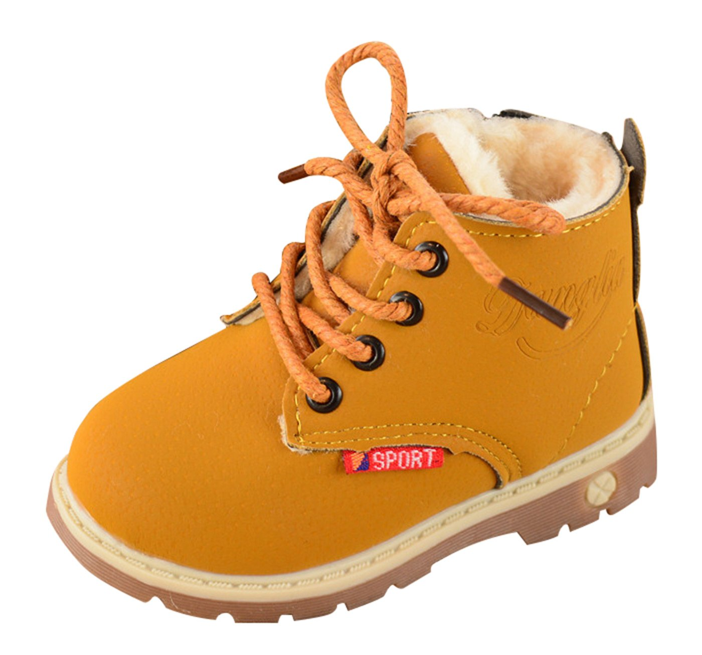 Happy Cherry AutumnWinter Comfort Boots LaceUp Martin Boots Lace up High Top Ankle Shoes for Baby Boys Girls Yellow Size 22