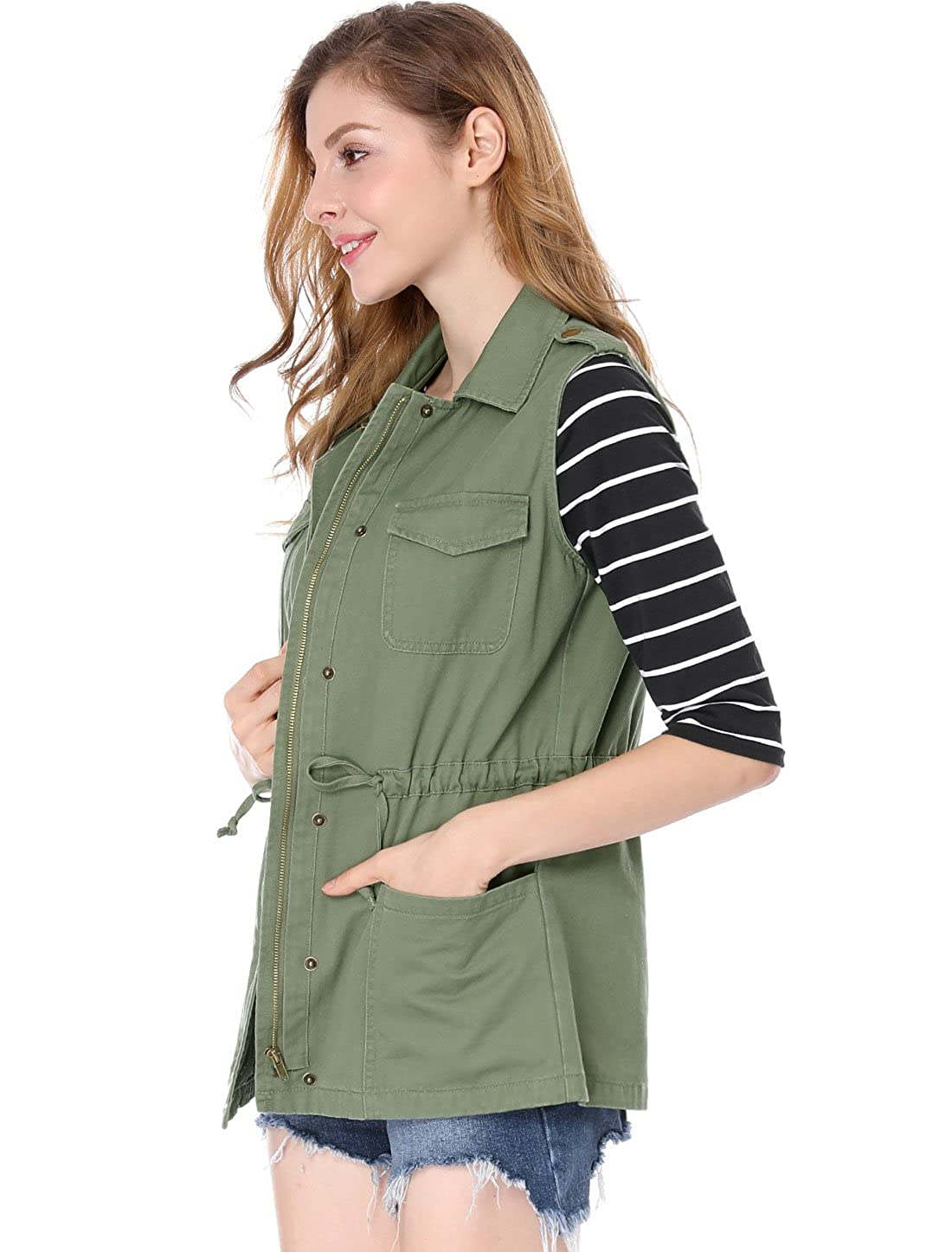 Allegra K Womens Pockets Drawstring Anorak Military Cargo Vest At Green Army City Diaper Bag Amazon Coats Shop