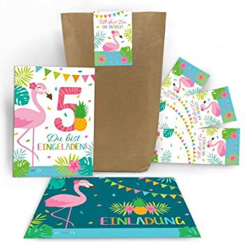 Junaversum 12 Einladungskarten 5 Geburtstag Kinder Madchen Flamingo