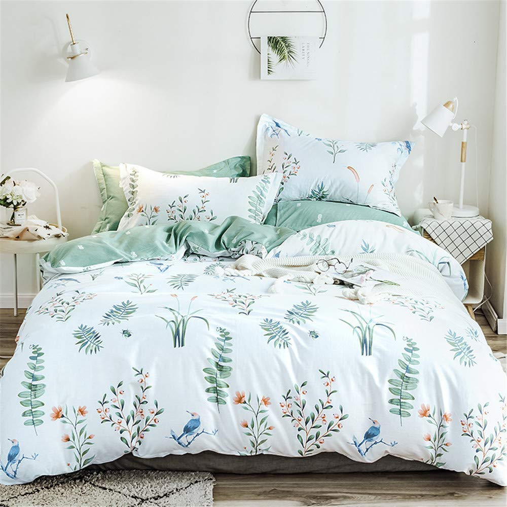 Ban-Luoke 4ピースシンプルツイル小さな新鮮な印刷肥厚植物シート掛け布団カバー枕カバー寝具、08、1.8メートルベッド4点セット(掛け布団カバー200×230) B07SN3KJB1