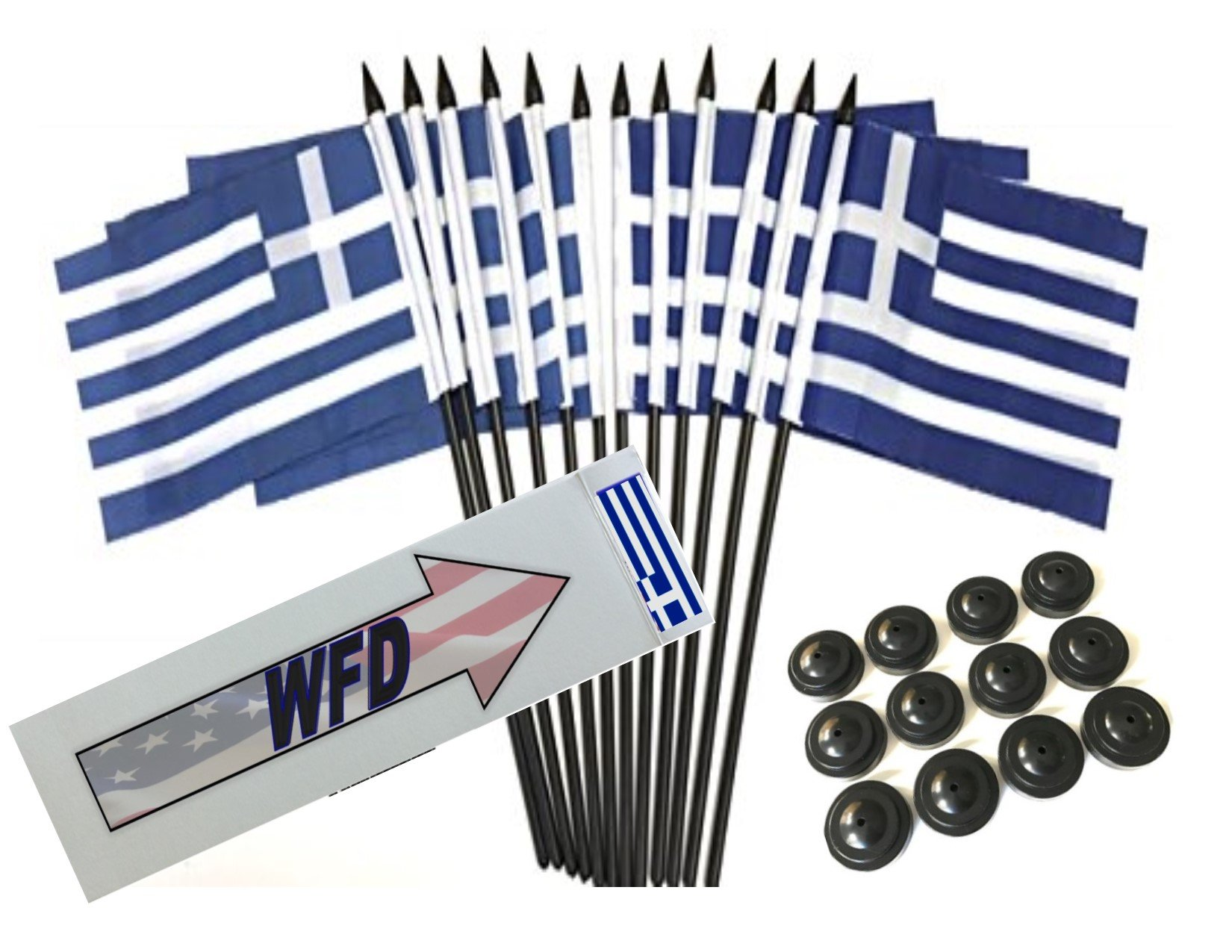 Box of 12 Greece 4''x6'' Polyester Miniature Desk & Little Table Flags, 4x6 Greek Small Mini Hand Waving Stick Flags with 12 Flag Bases (Stands)