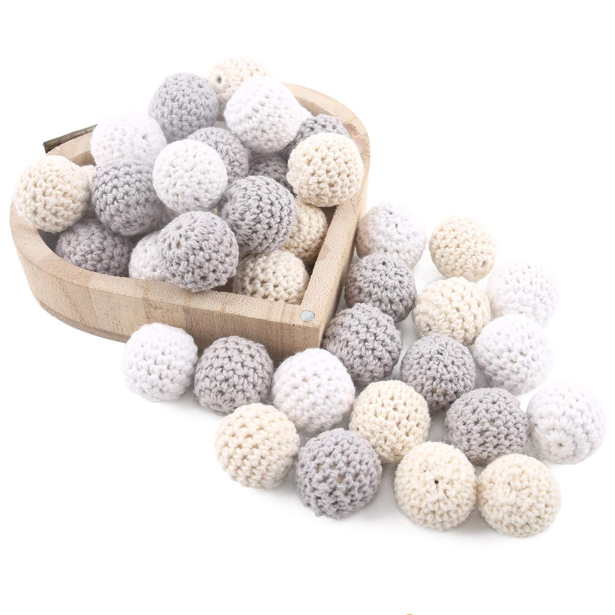 Baby Love Home 50pc White Gray Series Wooden Crochet Beads DIY Teething Necklace Bracelet for Baby Handmade Wooden teether Baby Teether Toys by Baby Love Home