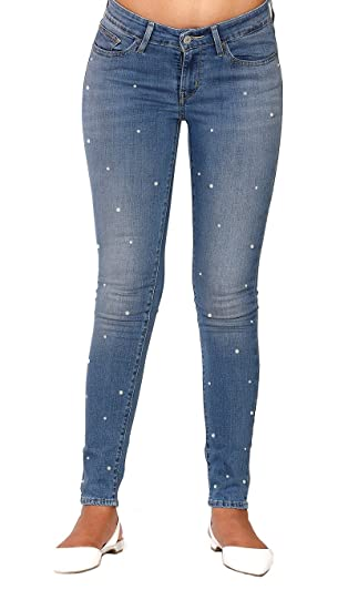 Buy Estrolo All Over Pearl Embellished Skinny Jeans Ankle Length Skinny Fit Women's  Jeans at Amazon.in