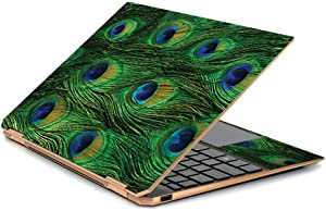 """MightySkins Skin Compatible with HP Spectre x360 13.3"""" Gem-Cut (2019) - Peacock Feathers 