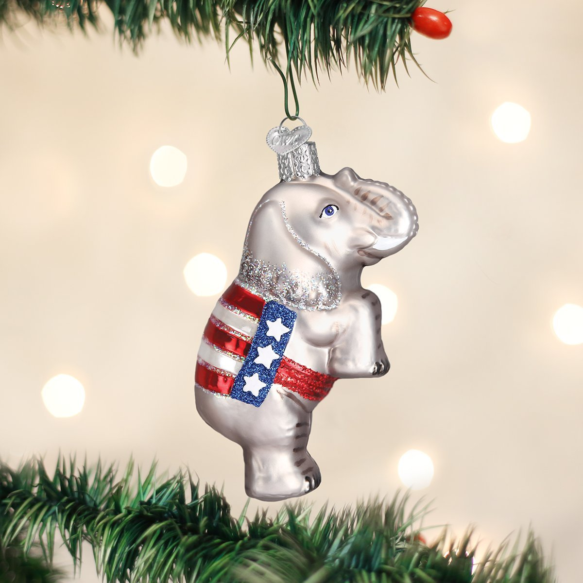 Amazon.com: Old World Christmas Republican Elephant Glass Blown ...