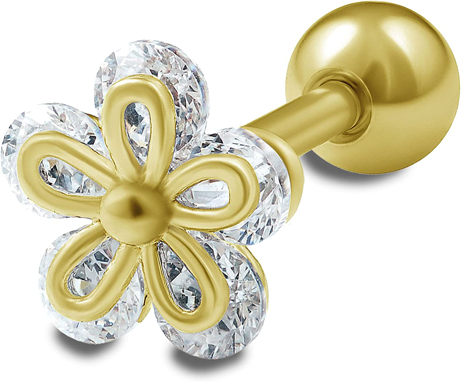 """1 PC 16g 1//4/"""" 4 Section 6MM CZ Flower Tragus Cartilage Barbell  Stud Earring"""