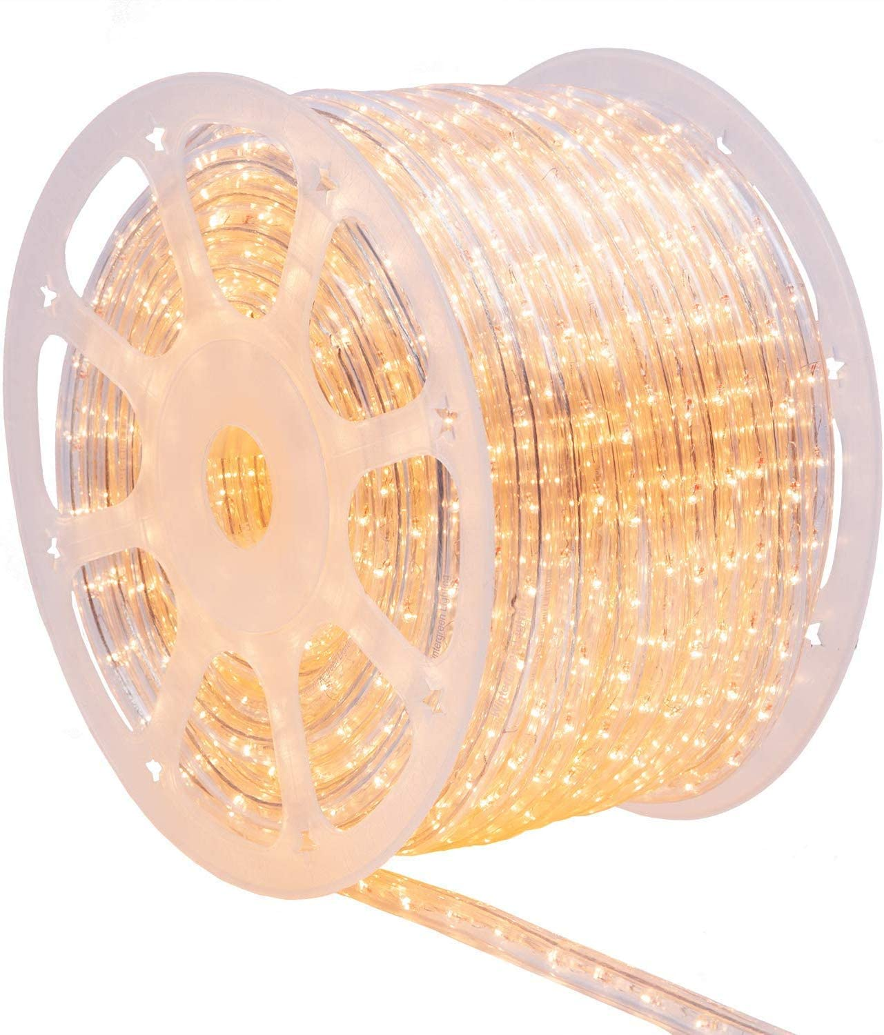Wintergreen Lighting 150' Clear Incandescent Rope Light Kit – Includes Power Cord, 120V, ½ Inch, 2-Wire (150' Spool, Clear)